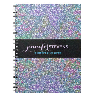Elegant Black Colorful Purple Glitter & Sparkles Notebook