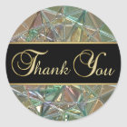 Elegant Black Colour Metallic Glass Thank You Classic Round Sticker
