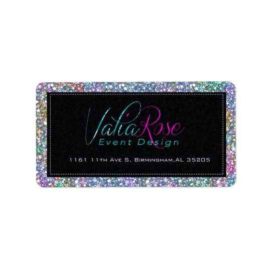 Elegant Black Colourful Purple Glitter & Sparkles Address Label