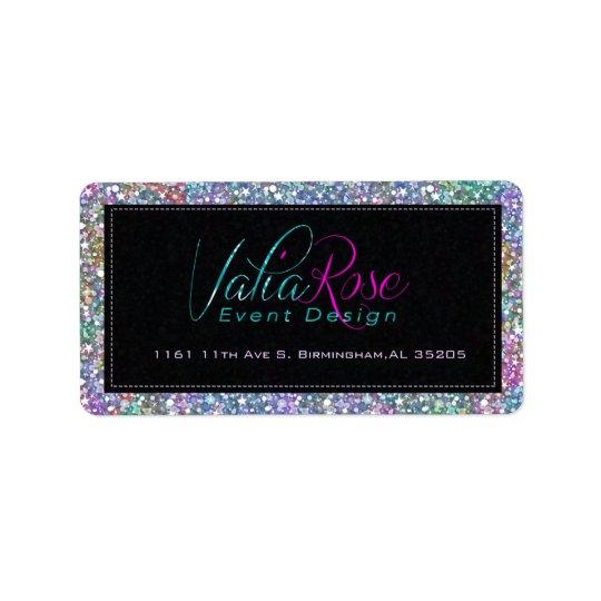 Elegant Black Colourful Purple Glitter & Sparkles Label