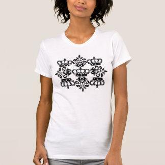 Elegant black crown damask t shirts