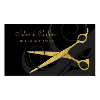 Elegant Black Curls Faux Gold Scissors Hair Salon Pack Of Standard Business Cards