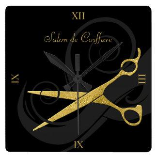 Elegant Black Curls Faux Gold Scissors Hair Salon Wall Clocks