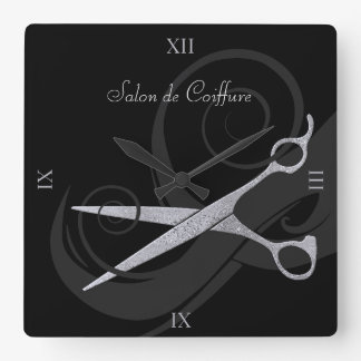 Elegant Black Curls Silver Scissors Hair Salon Wall Clocks