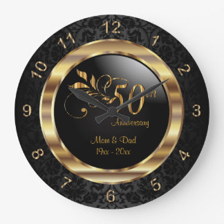 Elegant Black Damask - 50th Golden Anniversary Large Clock