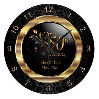 Elegant Black Damask - 50th Golden Anniversary Large Clock