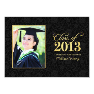 Elegant Black Damask and Gold Class of 2013 13 Cm X 18 Cm Invitation Card