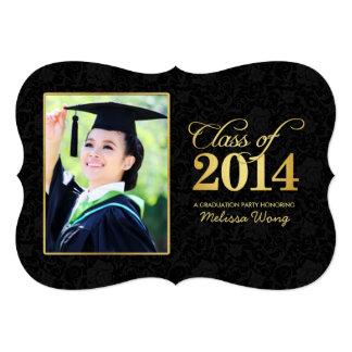 Elegant Black Damask and Gold Class of 2014 Custom Invite