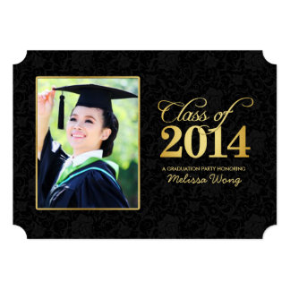 Elegant Black Damask and Gold Class of 2014 5x7 Paper Invitation Card