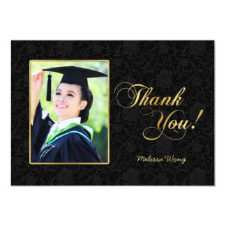 Elegant Black Damask and Gold Thank You 13 Cm X 18 Cm Invitation Card