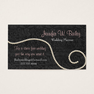 Elegant Black Damask and Pearls Business Card