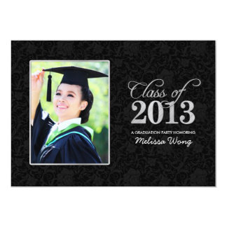 Elegant Black Damask and Silver Class of 2013 13 Cm X 18 Cm Invitation Card