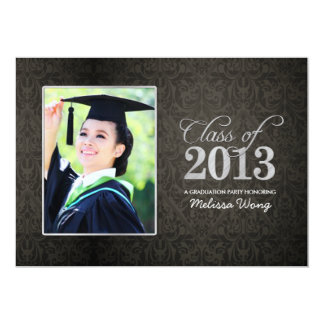 Elegant Black Damask and Silver Class of 2013 Personalized Announcement