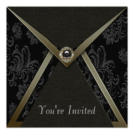 Elegant Black Damask Black and Gold Party Announcements