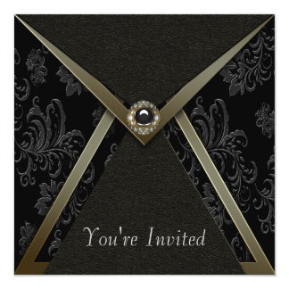 Elegant Black Damask Black and Gold Party 13 Cm X 13 Cm Square Invitation Card