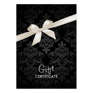 Elegant Black Damask Gift Certificate Pack Of Chubby Business Cards