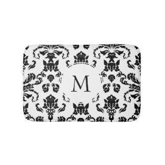 Elegant Black Damask Monogram Bath Mat