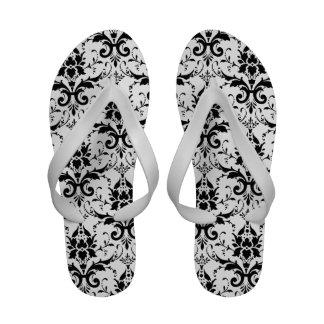 elegant black damask pattern sandals