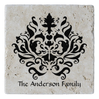 Elegant black damask personalized trivet