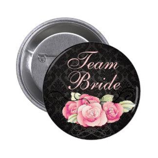 Elegant Black Damask Pink Floral Wedding Favor Pinback Button