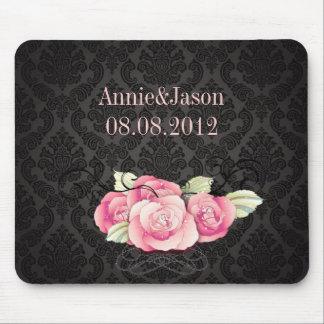 Elegant Black Damask Pink Floral Wedding Favor Mouse Pad