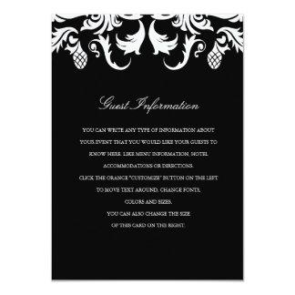Elegant Black Damask Wedding Insert 11 Cm X 16 Cm Invitation Card