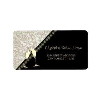 Elegant Black,Damask  Wedding Label