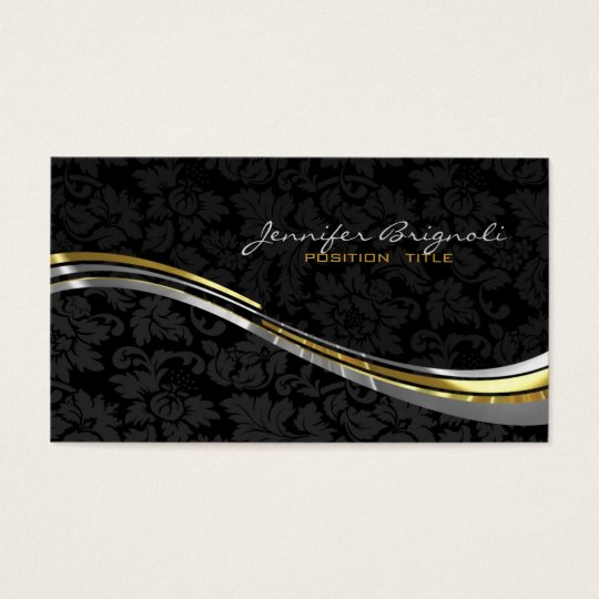 Elegant Black Damasks Gold And Silver Accents Business Card