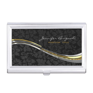 Elegant Black Damasks Gold And Silver Accents Business Card Holder