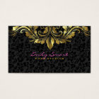 Elegant Black Damasks Gold Floral Lace 2 Business Card
