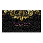 Elegant Black Damasks Gold Floral Lace 2 Pack Of Standard Business Cards