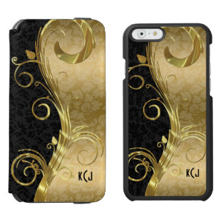 Elegant Black Damasks Gold Swirls Incipio Watson™ iPhone 6 Wallet Case