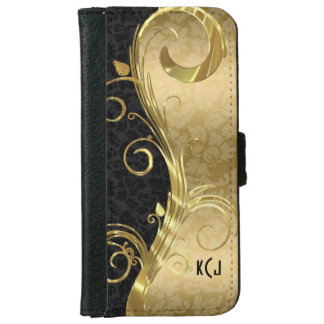 Elegant Black Damasks Gold Swirls iPhone 6 Wallet Case