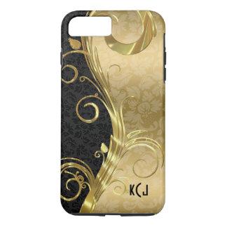Elegant Black Damasks Gold Swirls iPhone 7 Plus Case