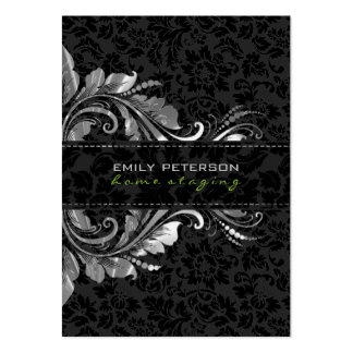Elegant Black Damasks & Silver Floral Ornament Pack Of Chubby Business Cards