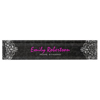 Elegant Black Damasks Silver Metallic Vintage Lace Nameplate