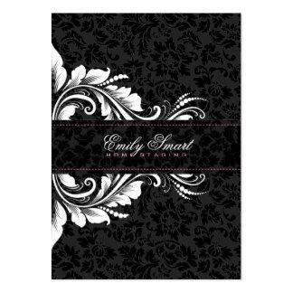 Elegant Black Damasks White Floral Ornament 2 Business Cards