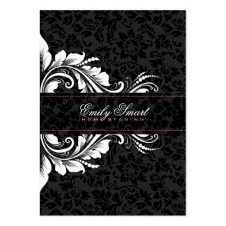Elegant Black Damasks White Floral Ornament 2 Pack Of Chubby Business Cards