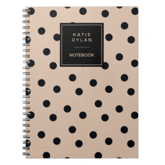 Elegant Black Dots on Beige Spiral Notebook