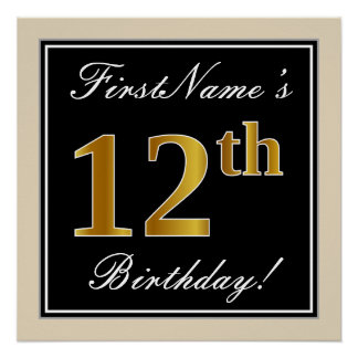 Elegant, Black, Faux Gold 12th Birthday + Name Poster