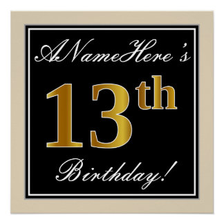 Elegant, Black, Faux Gold 13th Birthday + Name Poster