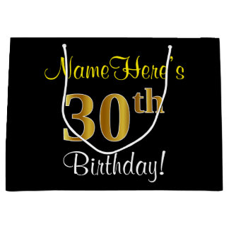 Elegant, Black, Faux Gold 30th Birthday + Name Large Gift Bag