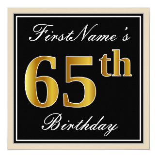 Elegant, Black, Faux Gold 65th Birthday + Name Card
