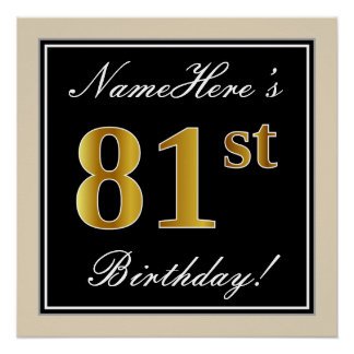 Elegant, Black, Faux Gold 81st Birthday + Name Poster