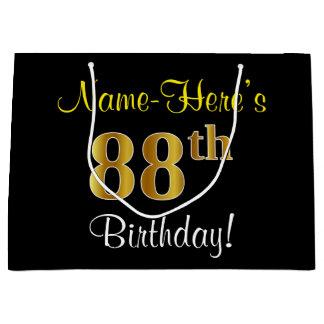 Elegant, Black, Faux Gold 88th Birthday + Name Large Gift Bag