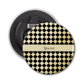 Elegant Black & Faux Gold Checkers Bottle Opener