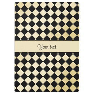 Elegant Black & Faux Gold Checkers Clipboard