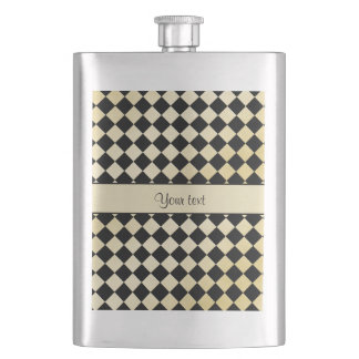 Elegant Black & Faux Gold Checkers Hip Flask