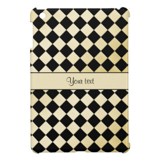 Elegant Black & Faux Gold Checkers iPad Mini Cases