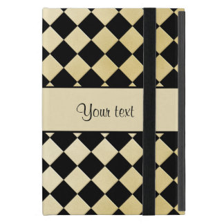 Elegant Black & Faux Gold Checkers iPad Mini Cover